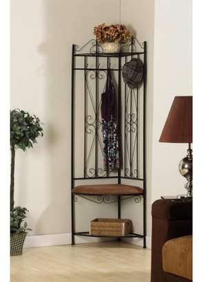 Pilaster Designs Clifland Black Metal Corner Entryway Hallway Storage Bench Hall Tree Coat Rack