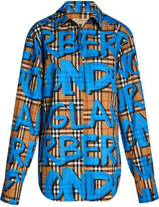 Burberry graffiti-print check shirt