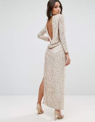 Asos Design All Over Sequin Cowl Back Maxi Dress
