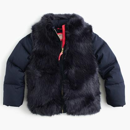 J.Crew Girls' furry puffer