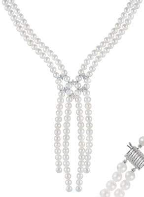 6-6.5MM White Pearl, Crystal and Sterling Silver Double Row Necklace