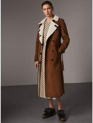 Burberry Raglan-sleeve Suede and Shearling Trench Coat