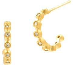 Freida Rothman Bezel Cubic Zirconia Huggie Hoop Earrings, Golden