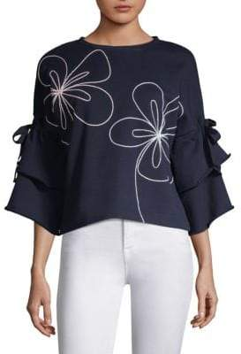 Parker Omara Embroidered Bell-Sleeve Pullover