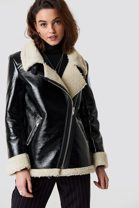 NA-KD Emilie Briting X Aviator Jacket Black