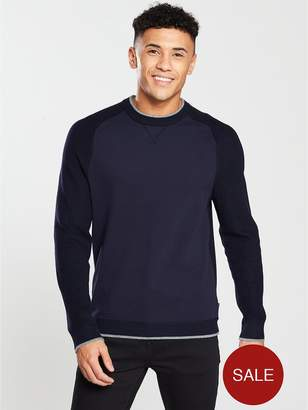 Ted Baker Long Sleeve Jersey & Knit Crew Neck Knit