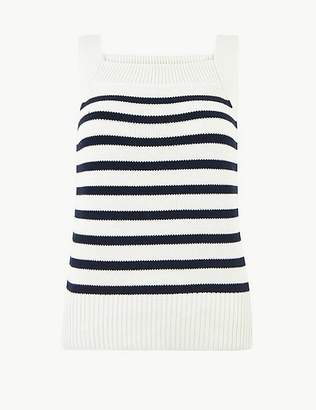 Marks and Spencer Pure Cotton Striped Knitted Vest