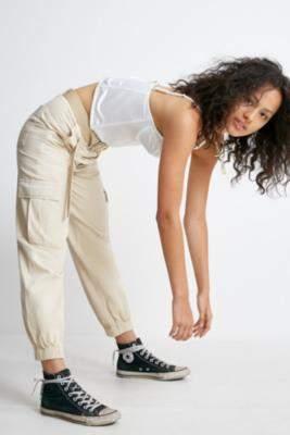 BDG Ecru Cuffed Cargo Trousers - beige XS at Urban Outfitters