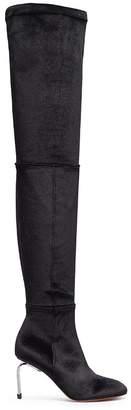 Robert Clergerie 'Meliset' metal heel stretch velvet thigh high boots