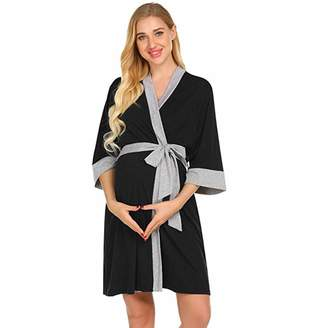 8707d144f8bf0 Women Maternity Nightwear Nursing Clothes Fashion Robe Delivery Nightgowns  Hospital Breastfeeding Gown