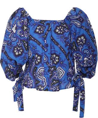 Caroline Constas Nella Off-The-Shoulder Floral-Print Cotton-Poplin Top