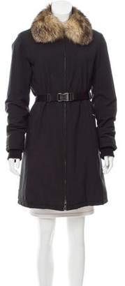 Prada Sport Fur-Trimmed Knee-Length Coat