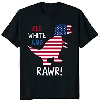 Dinosaur Rawr American Flag Patriotic Red White T-Rex Shirt