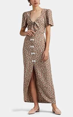 Rebecca De Ravenel Women's Zaza Daisy-Print Silk Crêpe De Chine Tie-Front Dress - Cream
