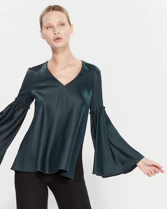 Les Copains Dark Green & Black Bell Sleeve Top