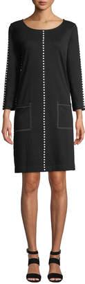Joan Vass Petite Scoop-Neck 3/4-Sleeve Cotton Interlock Dress w/ Patch Pockets & Studded Trim