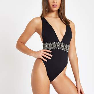 63653f665af95 River Island Womens Black diamante embellished plunge swimsuit