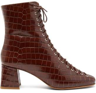 BY FAR Becca Lace Up Crocodile Effect Leather Ankle Boots - Womens - Dark Brown