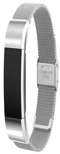 Fitbit Amerteer Charge 2 Bands Replacement Accessories Milanese Loop Stainless Steel Metal Bracelet Strap with Unique Magnet Lock for Charge 2 (Black, Large)