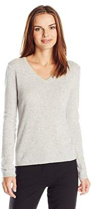 Lark & Ro Women's 100% Cashmere Slim-Fit V-Neck Sweater