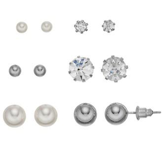 Mudd Acrylic & Glass Stone Nickel Free Earring Stud Button Set