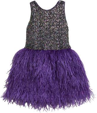 Zoe Girl's Sequin Sheath Dress w/ Feather Skirt, Size 7-16