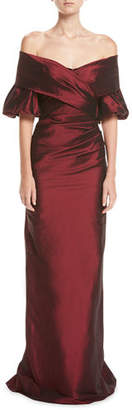 Rickie Freeman For Teri Jon Off-the-Shoulder Portrait Puff-Sleeve Taffeta Evening Gown