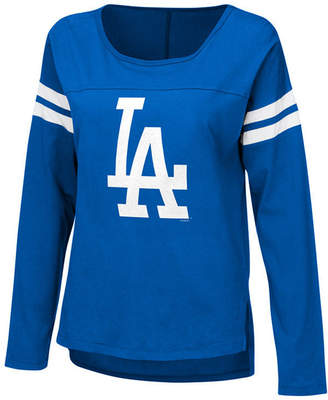 G-iii Sports Women's Los Angeles Dodgers Free Agent Glitter Long Sleeve T-Shirt