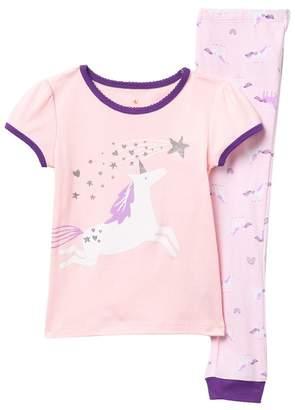 Joe Fresh Short Sleeve Tee & Pants Pajama Set (Toddler & Little Girls)
