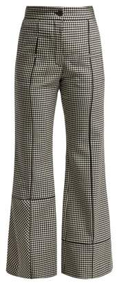 Loewe Flared Houndstooth Wool Trousers - Womens - Black White