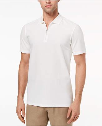 Ryan Seacrest Distinction Men's Slim-Fit White Textured 1/4-Zip Polo, Created for Macy's