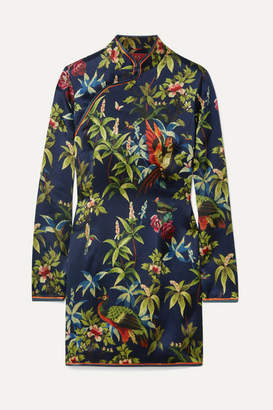 F.R.S For Restless Sleepers - Menezio Printed Hammered-silk Mini Dress - Navy