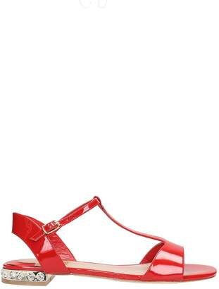 Julie Dee T-strap Red Patent Leather Sandals