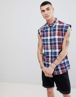 Another Influence Sleeveless Check Shirt