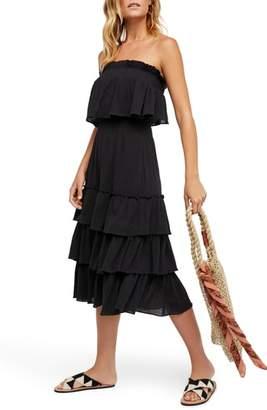Free People Sea Breeze Strapless Crop Top & Midi Skirt