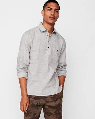 Express Slim Striped Linen-Blend Popover Shirt