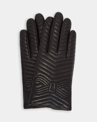 Ted Baker LUCILU Quilted bow leather gloves