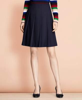 Brooks Brothers Pleated Wool-Blend Twill Skirt