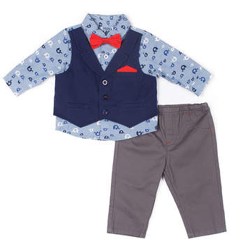 Little Lass 2-pc. Chambray Mock Vest Set-Baby Boy