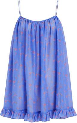 Caroline Constas Voile Floral Ruffled Tunic Dress