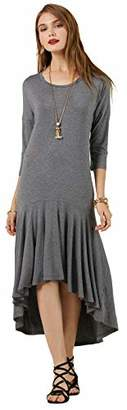 SONJA BETRO Women's Knit 3/4 SLV Scoopneck Ruffle High/Low Hem Knee Length Dress XXX-Large