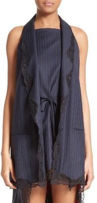 Women's Alexander Wang Lace Trim Pinstripe Vest $695 thestylecure.com