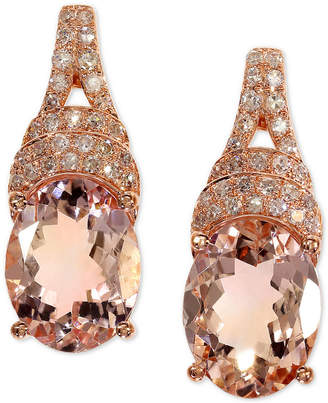 Effy Morganite (3-1/3 ct. t.w.) & Diamond (1/5 ct. t.w.) Drop Earrings in 14k Rose Gold