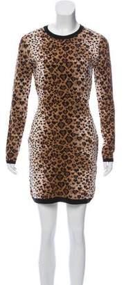 RED Valentino Merino Wool-Blend Leopard Print Dress