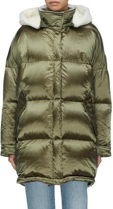 Yves Salomon Army By Shearling trim hooded down puffer jacket