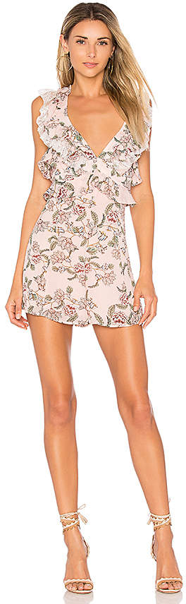 For Love & Lemons Bee Balm Floral Romper in Pink