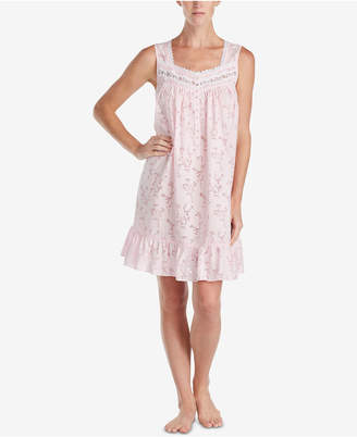Eileen West Ruffle-Hem Sheer Lace Woven Nightgown