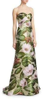 Rubin Singer Strapless Jacquard Gown