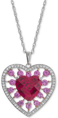 """Macy's Lab-Created Multi-Gemstone (2-3/4 ct. t.w.) Heart 18"""" Pendant Necklace in Sterling Silver"""
