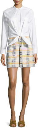 Veronica Beard Aurelia Long-Sleeve Combo Dress with Poplin Shirt & Tweed Skirt